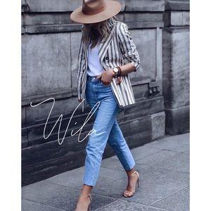 striped blazer gray white jacket coat 847840